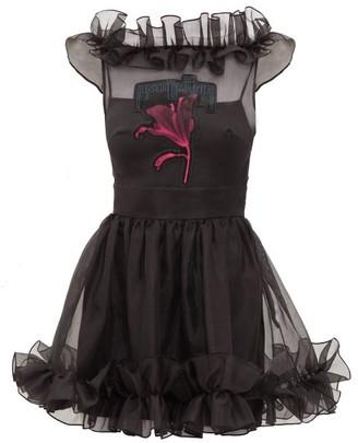 Christopher Kane Anthomania Ruffled Silk-organza Mini Dress - Womens - Black