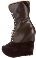 Saint Laurent Leather Wedge Ankle Boots
