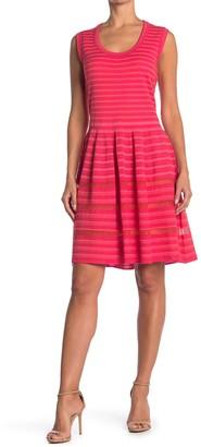 M Missoni Tonal Stripe Print Fit & Flare Dress