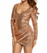 SUBWELL Women's Deep V-Neck Long Sleeve Sequin Ruched Bodycon Clubwear Sheath Dress
