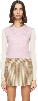 Gucci Pink GG Crochet Sweater Vest