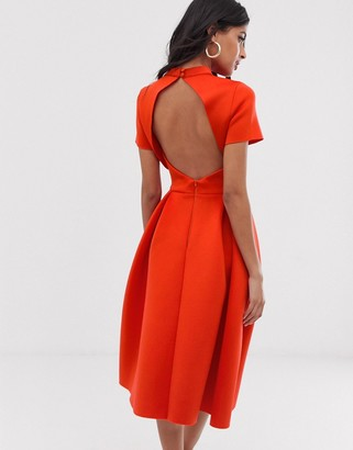 Asos Design DESIGN T-Shirt open back prom midi dress-Red