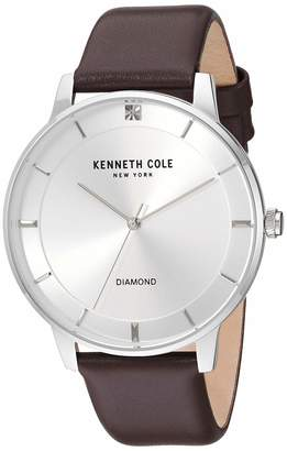 Kenneth Cole New York Male Stainless Steel Quartz Watch with Leather Strap Brown 19.6 (Model: KC50857002)