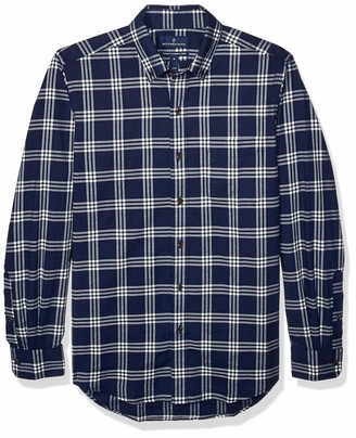 Buttoned Down Amazon Brand Men's Tailored Fit Supima Cotton Brushed Twill Plaid Sport Shirt