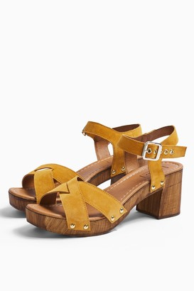 Topshop VERONICA Mustard Leather Clog Shoes