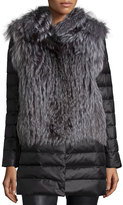 Gorski Fox Fur Stroller w/ Removable Down Skirt and Sleeves, Silver