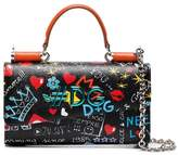 Dolce & Gabbana Black Graffiti Mini Leather Phone Bag