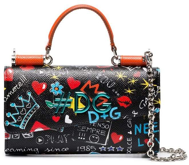 Dolce & Gabbana Black Graffiti Mini Leather Phone Bag