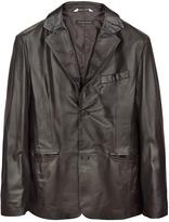 Forzieri Dark Brown Italian Leather Blazer