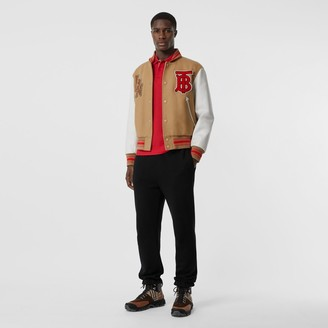 Burberry Contrast Sleeve Logo Graphic Wool Bomber Jacket