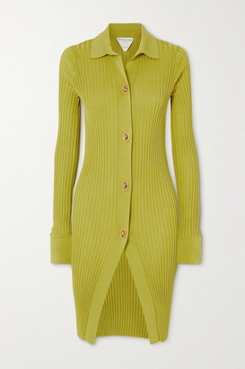 Bottega Veneta Ribbed Cotton And Silk-blend Cardigan - Bright yellow