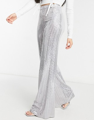 Club L London sequin wide leg pants in silver