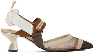 Fendi Multicolor Mesh Colibri Slingback Heels