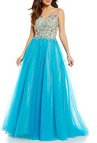 Glamour by Terani Couture V-Neck Embellished Bodice Illusion-Back Ball Gown