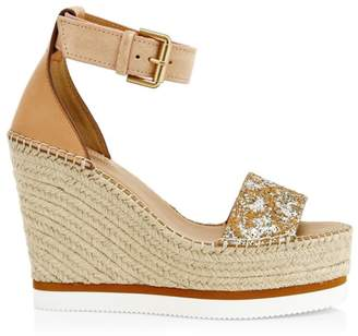 See by Chloe Glyn Glitter Leather Wedges