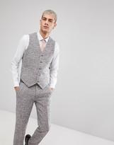 Asos Skinny Suit Vest In Pink Flecked Wool Blend
