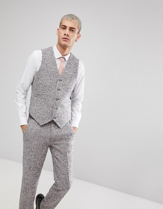 Asos Design ASOS Skinny Suit Vest In Pink Flecked Wool Blend