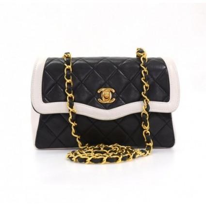 Chanel excellent (EX) Vintage Black x White Quilted Gold Chain CC Leather Mini Shoulder Bag + Pouch