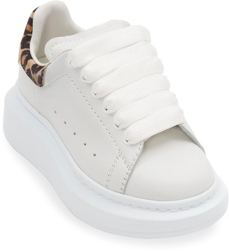 Alexander McQueen Leather Chunky Sneakers w/ Leopard-Print Trim, Toddler/Kids