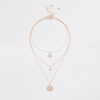 River Island Womens Rose Gold colour crystal layered necklace