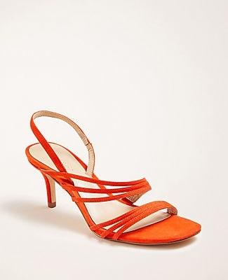 Ann Taylor Lyle Triple Strap Suede Sandals