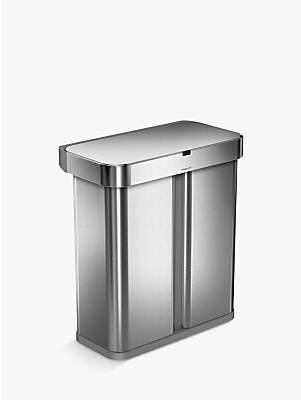 Simplehuman Voice Activated Dual Compartment Recycler Sensor Bin, 58L