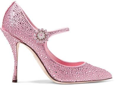 Dolce & Gabbana Crystal-embellished Satin Mary Jane Pumps - Baby pink