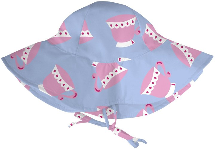 I Play Floppy Brim Sun Protection Hat - Blue Teacup-0-6 Months