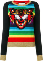 Gucci Angry Cat intarsia knitted jumper - women - Polyamide/Wool/Metallic Fibre - S