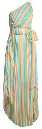 Ramy Brook Belle Rainbow Pleated Maxi Dress