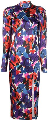 Rotate by Birger Christensen Paint-Print Puff-Sleeve Dress