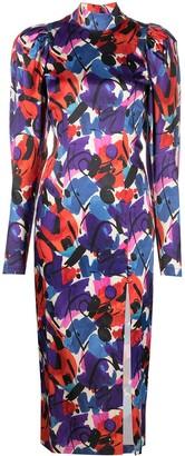 Rotate by Birger Christensen Paint-Print Puff-Sleeve Dress