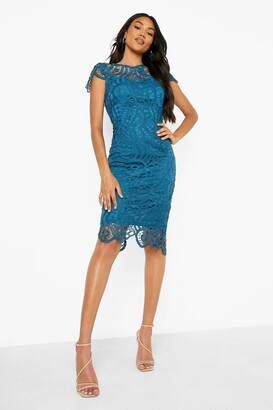 boohoo Lace Cap Sleeve Midi Dress