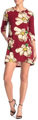 Papillon Floral 3/4 Sleeve Knit Mini Dress