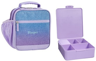 Pottery Barn Kids Mackenzie Lavender/Aqua Ombre Glitter Classic Lunch Bento Set