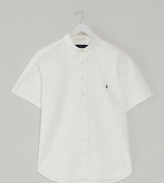 Polo Ralph Lauren Big & Tall short sleeve oxford shirt custom regular fit multi player logo in white