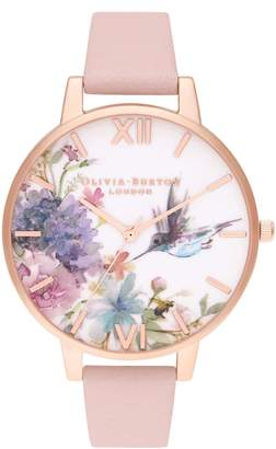 Olivia Burton Painterly Prints Floral Hummingbird Leather Watch