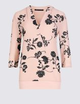 Marks and Spencer 3/4 Sleeve Floral Print Jersey Top