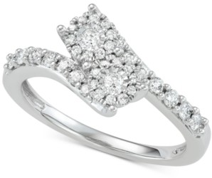 Two Souls, One Love Diamond Halo Two-Stone Engagement Ring (1/2 ct. t.w.) in 14k White Gold