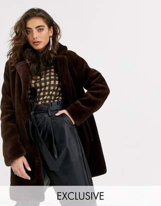 Object faux fur coat in brown