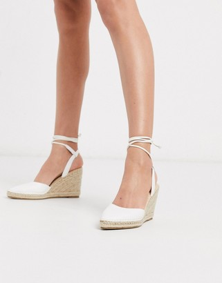 Truffle Collection heeled tie leg espadrille wedges in white