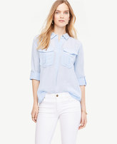 Ann Taylor Shimmer Safari Button Down Shirt