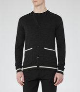 Reiss Reiss Gaudi - Wool Piped Cardigan In Grey