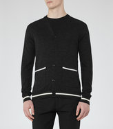 Reiss Reiss Gaudi - Wool Piped Cardigan In Grey, Mens