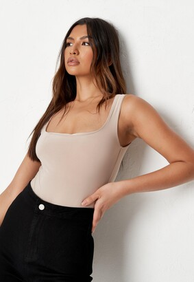 Missguided Petite Sand Seamless Scoop Neck Sleeveless Bodysuit