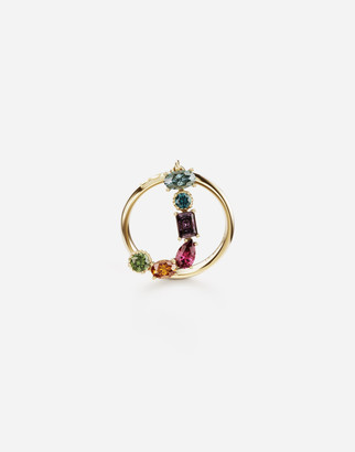 Dolce & Gabbana Rainbow Alphabet J 18 Kt Yellow Ring With Multicolor Fine Gems