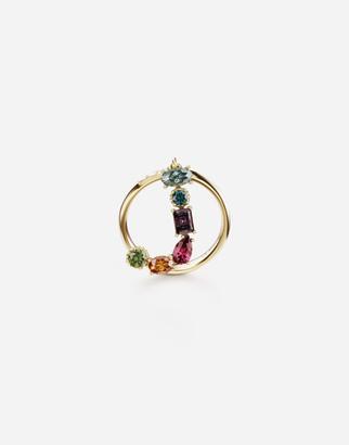 Dolce & Gabbana Rainbow Alphabet J 18 Kt Yellow Ring With Multicolor Fine Gems