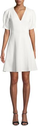 Rebecca Taylor Short-Sleeve Stretch-Texture Dress