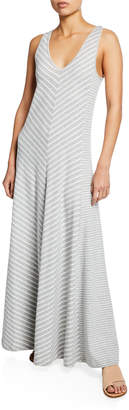 Joan Vass Petite Striped Sleeveless V-Neck Maxi Dress