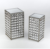 AA Importing 2 Piece Mirrored End Table Set